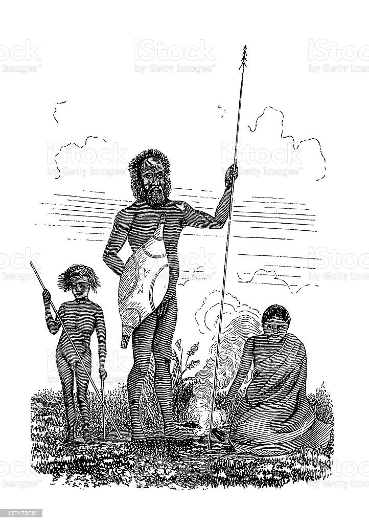 Tasmanian family (antique wood engraving) vector art illustration