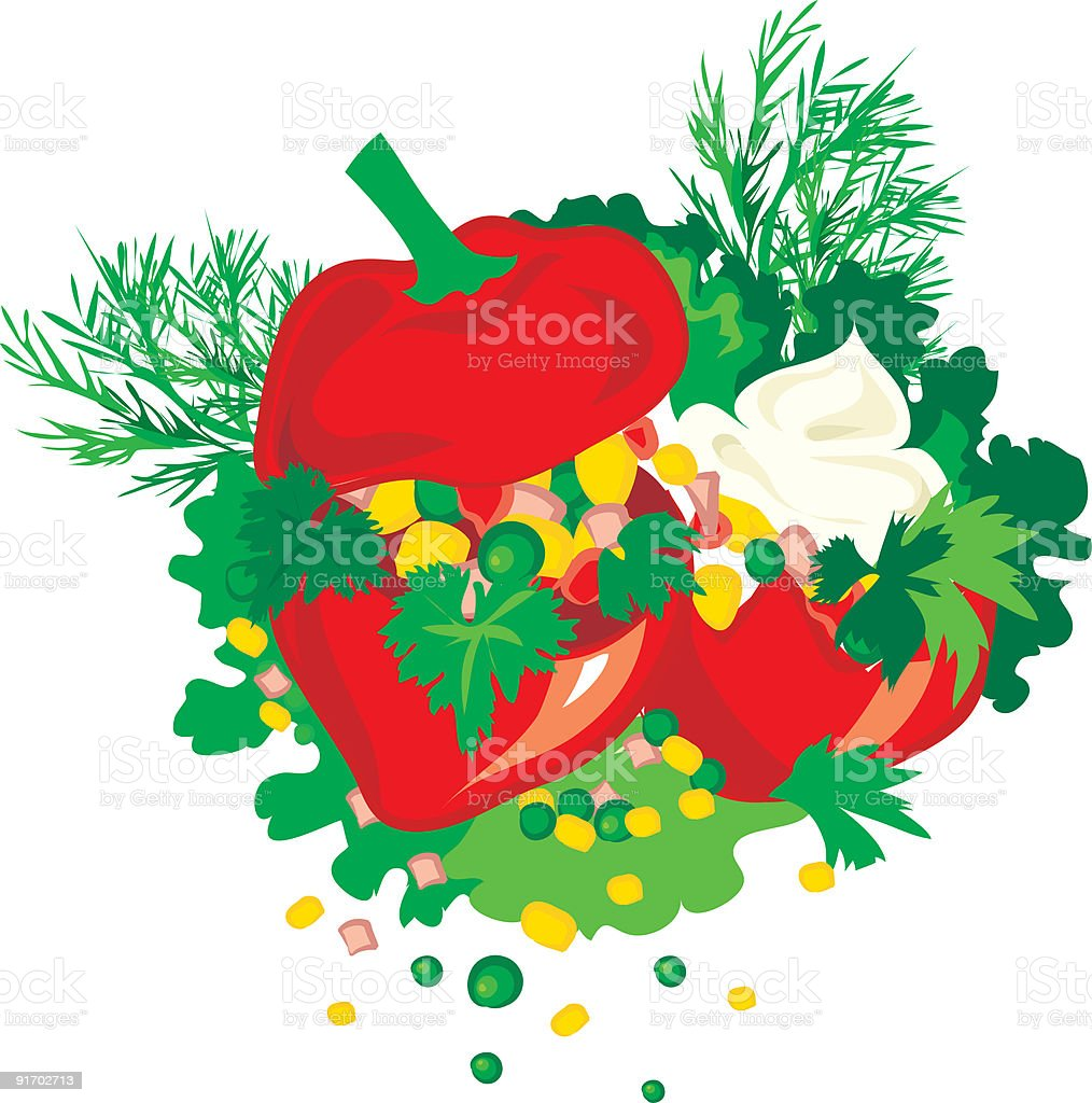 Tasty stuffed paprika with greens royalty-free stock vector art