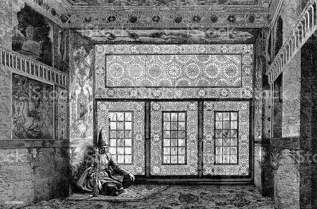 Tatar house indoor royalty-free stock vector art