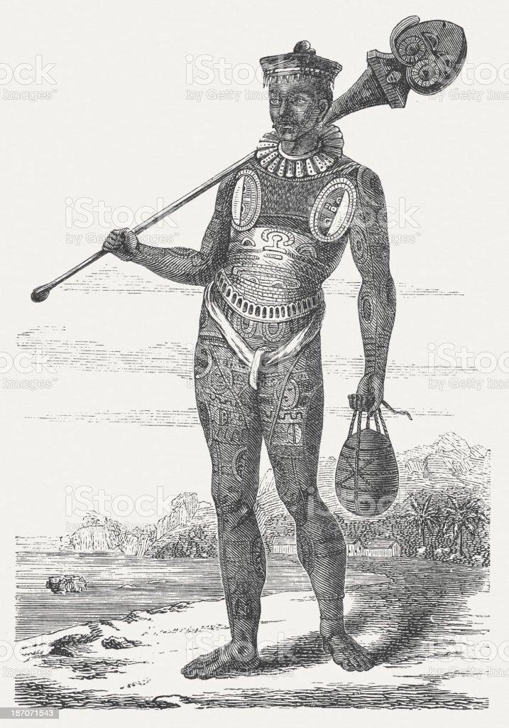Tattooed native chief from Santa Christina Isle, French Polynesia, 1876 royalty-free stock vector art