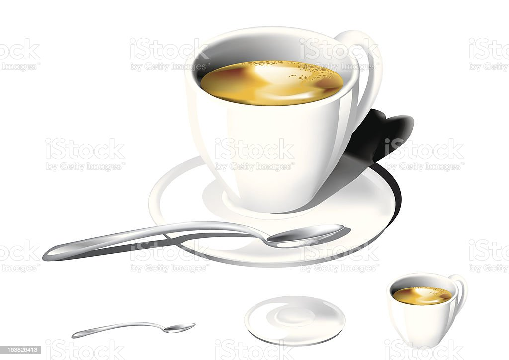 tazzina di caffè, piattino, cucchiaino royalty-free stock vector art