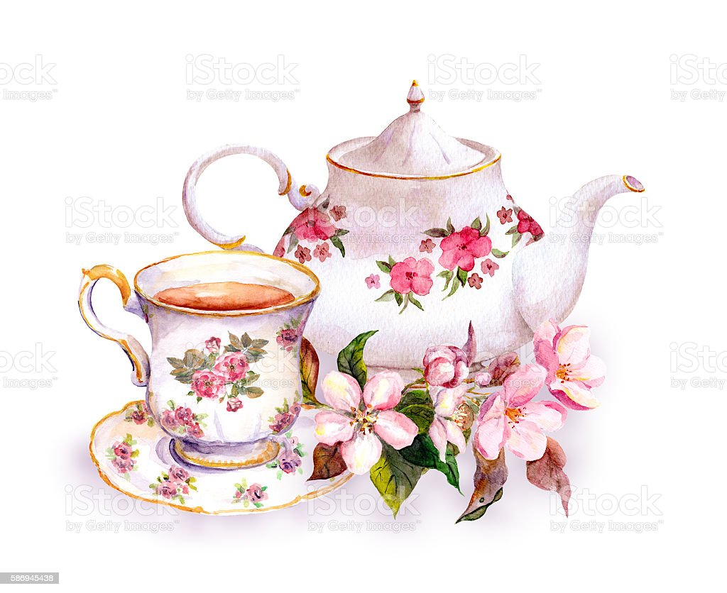 Tea - cup and teapot with flowers. Vintage watercolor design vector art illustration