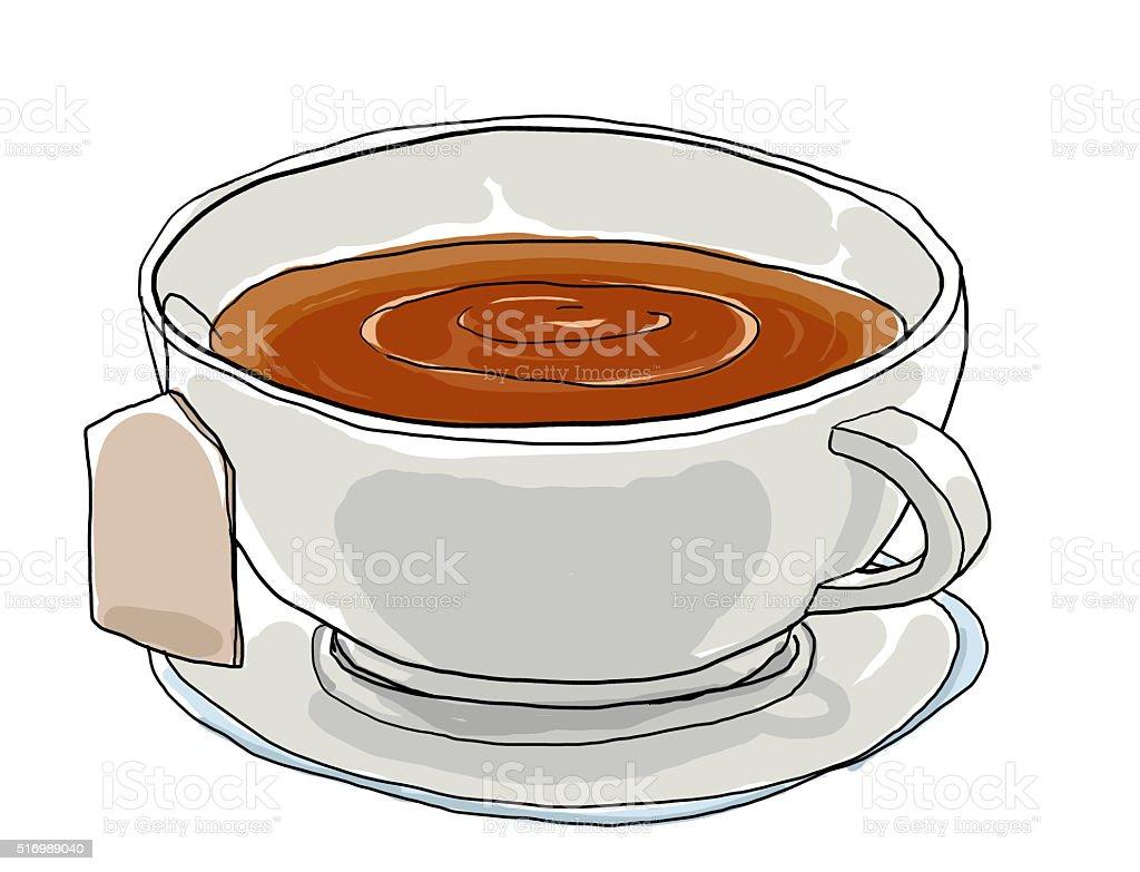 Tea cup cute art painting illustation vector art illustration