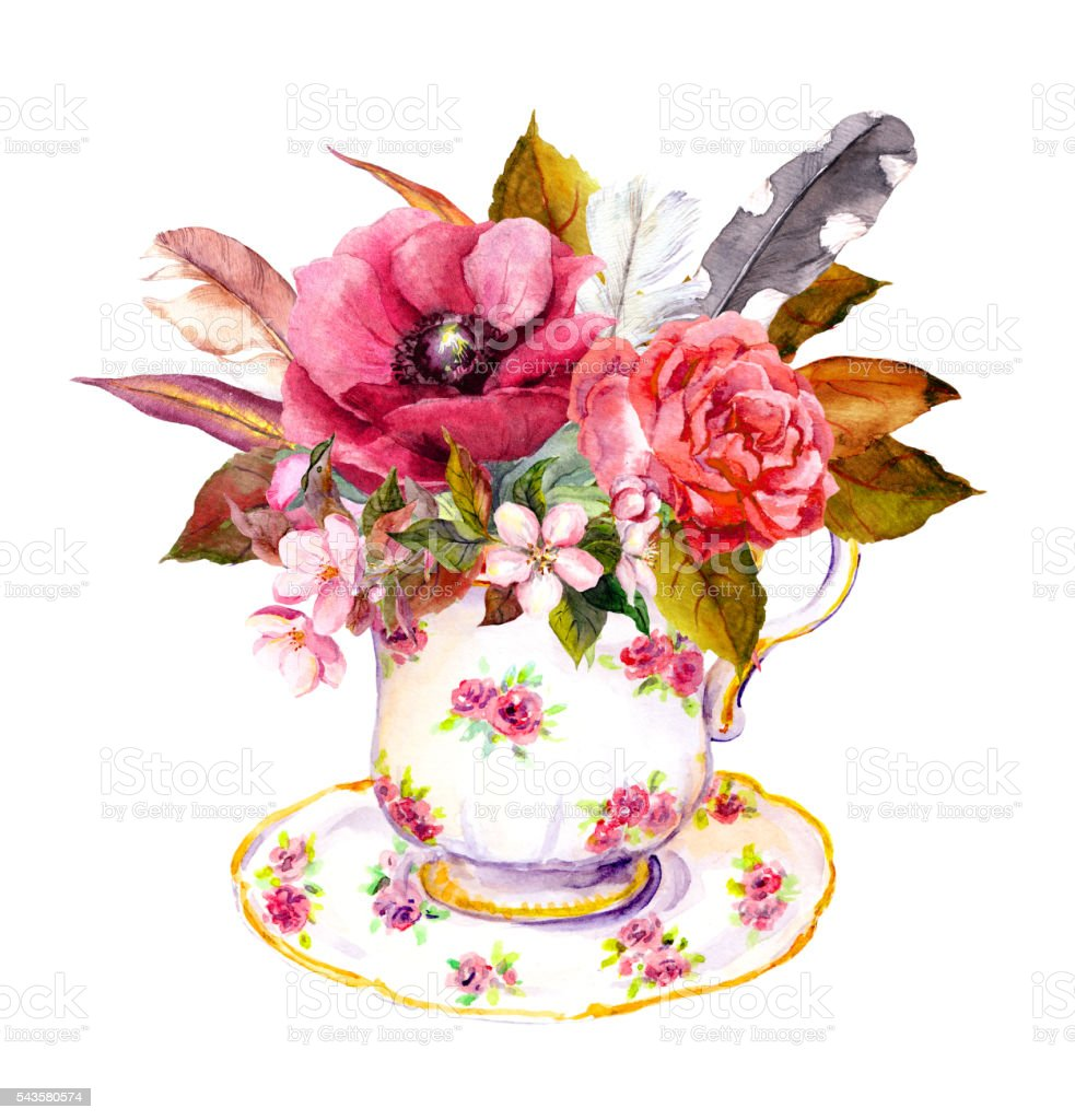 Tea cup with rose flowers, vintage feathers. Watercolor for teatime vector art illustration