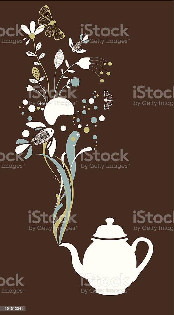 Tea pot fantasy on brown vector art illustration