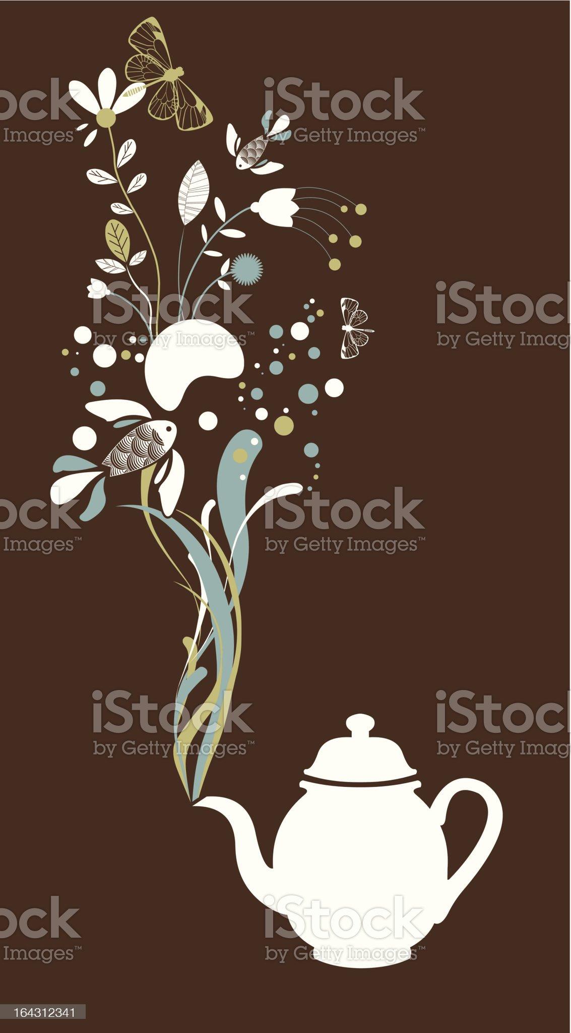 Tea pot fantasy on brown royalty-free stock vector art