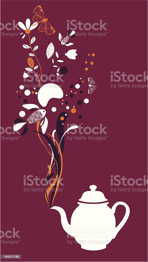 Tea pot fantasy on fuchsia royalty-free stock vector art