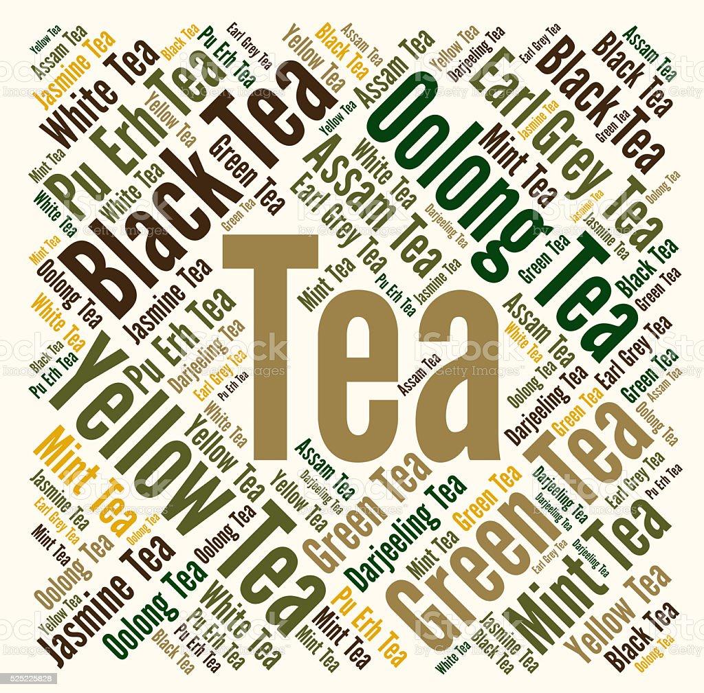 Tea word cloud concept vector art illustration