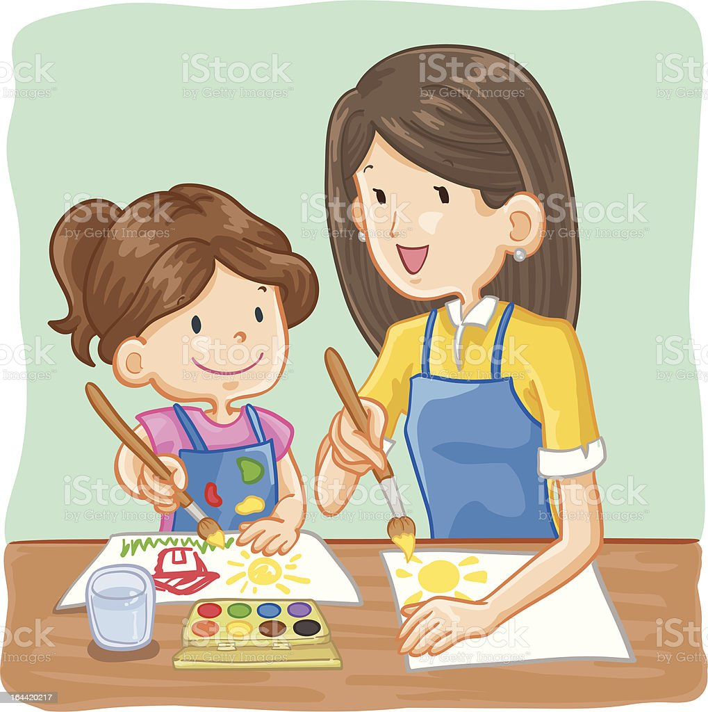 Teacher and Student Painting vector art illustration