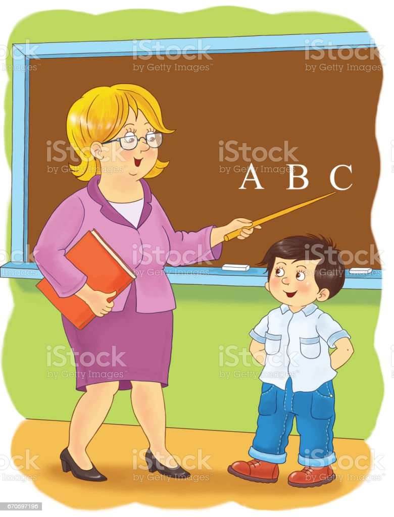 1 teacher coloring pages - A Teacher Professions Illustration For Children Coloring Page Funny Cartoon Characters Royalty
