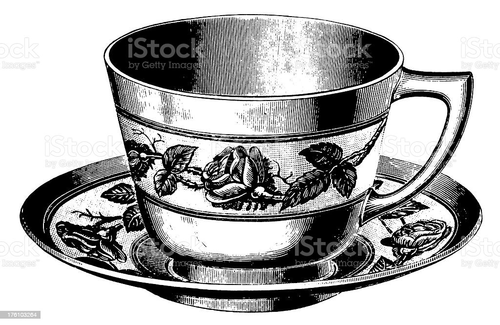 Teacup | Antique Design Illustrations vector art illustration