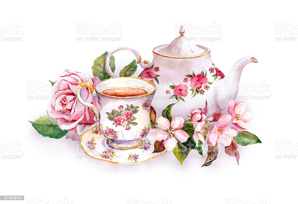 Teacup, tea pot, pink flowers - rose and cherry blossom vector art illustration