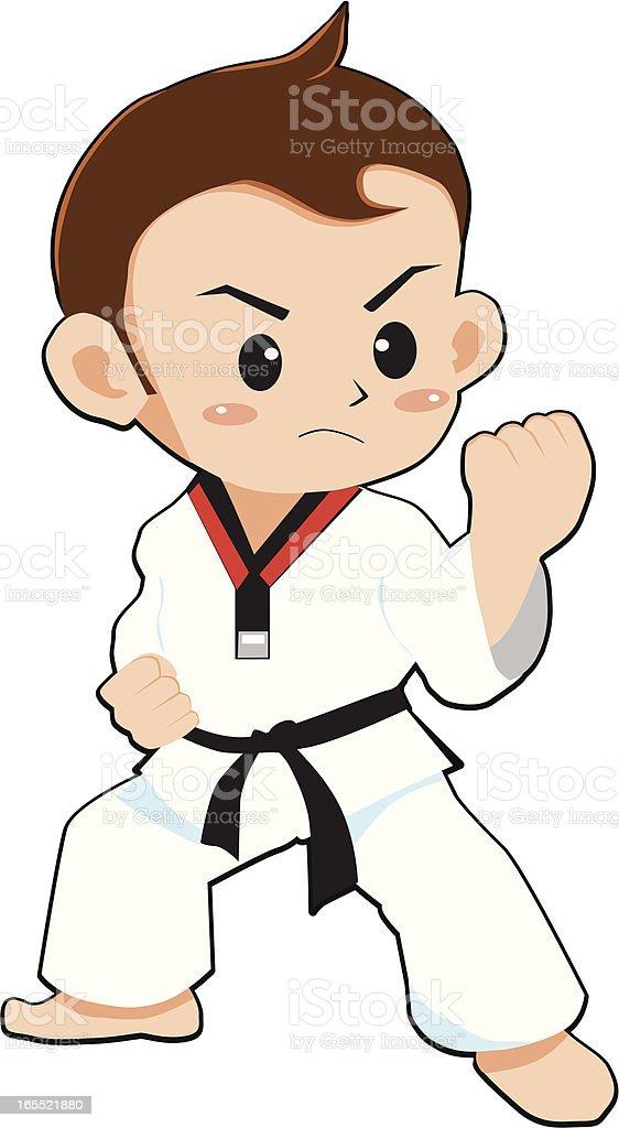 teakwondo boy vector art illustration