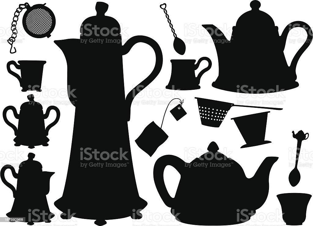 Teapots, Teacups, Teaspoons, tea bag silhouettes vector art illustration