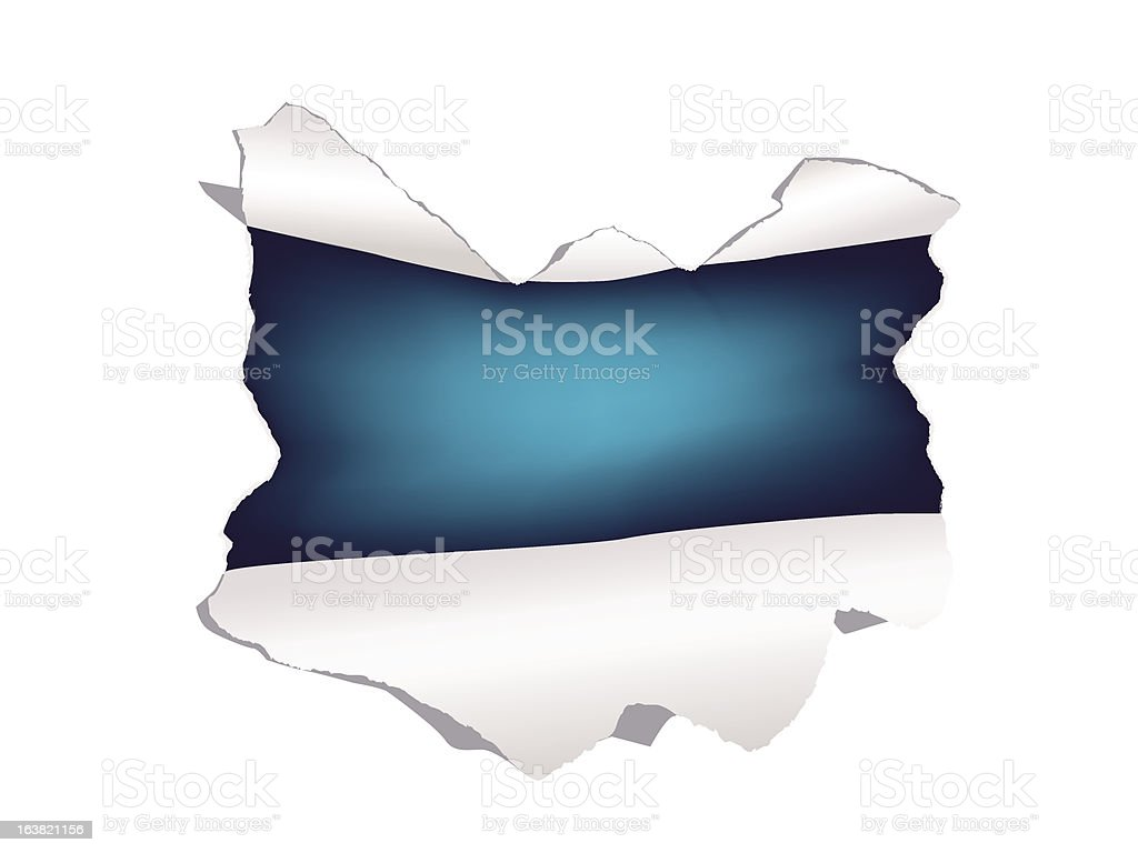 Tear a hole in the paper royalty-free stock vector art