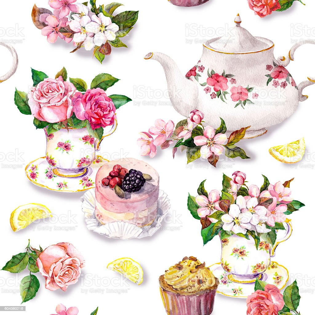 Teatime pattern: flowers, teacup, cake, teapot. Watercolor. Seamless background vector art illustration