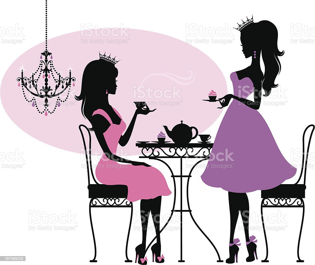 Teatime Princesses vector art illustration