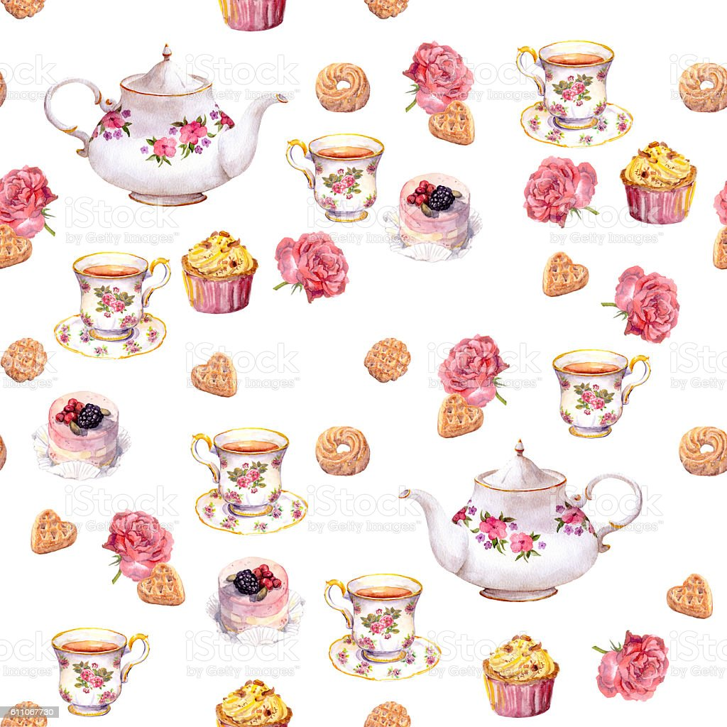 Teatime - teapot, tea cup, cakes, flowers. Seamless  pattern. Watercolor vector art illustration