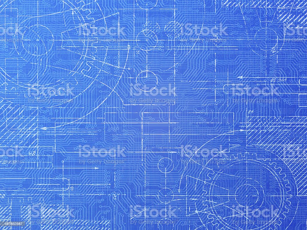 Technical Blueprint vector art illustration