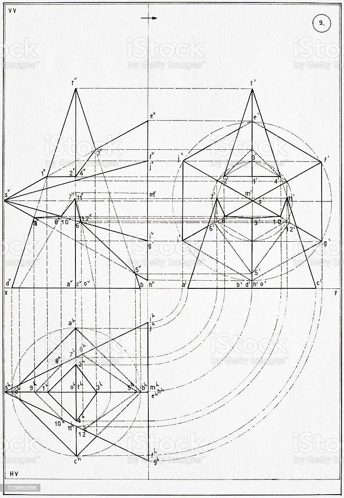 Technical drawing vector art illustration