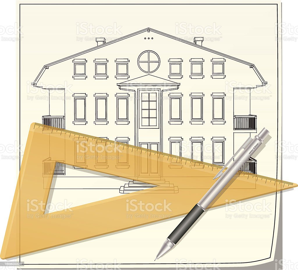 Technical drawing of the front facade royalty-free stock vector art