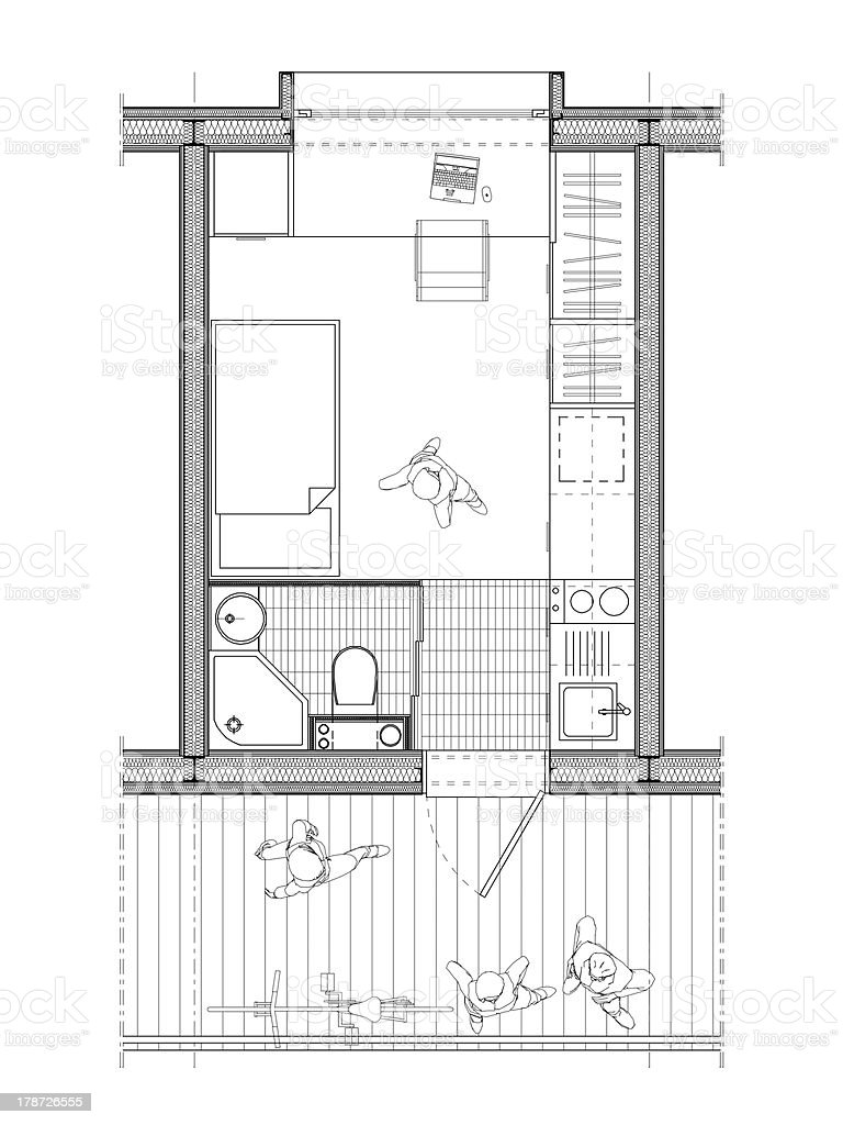 technical plan of a student's room royalty-free stock vector art