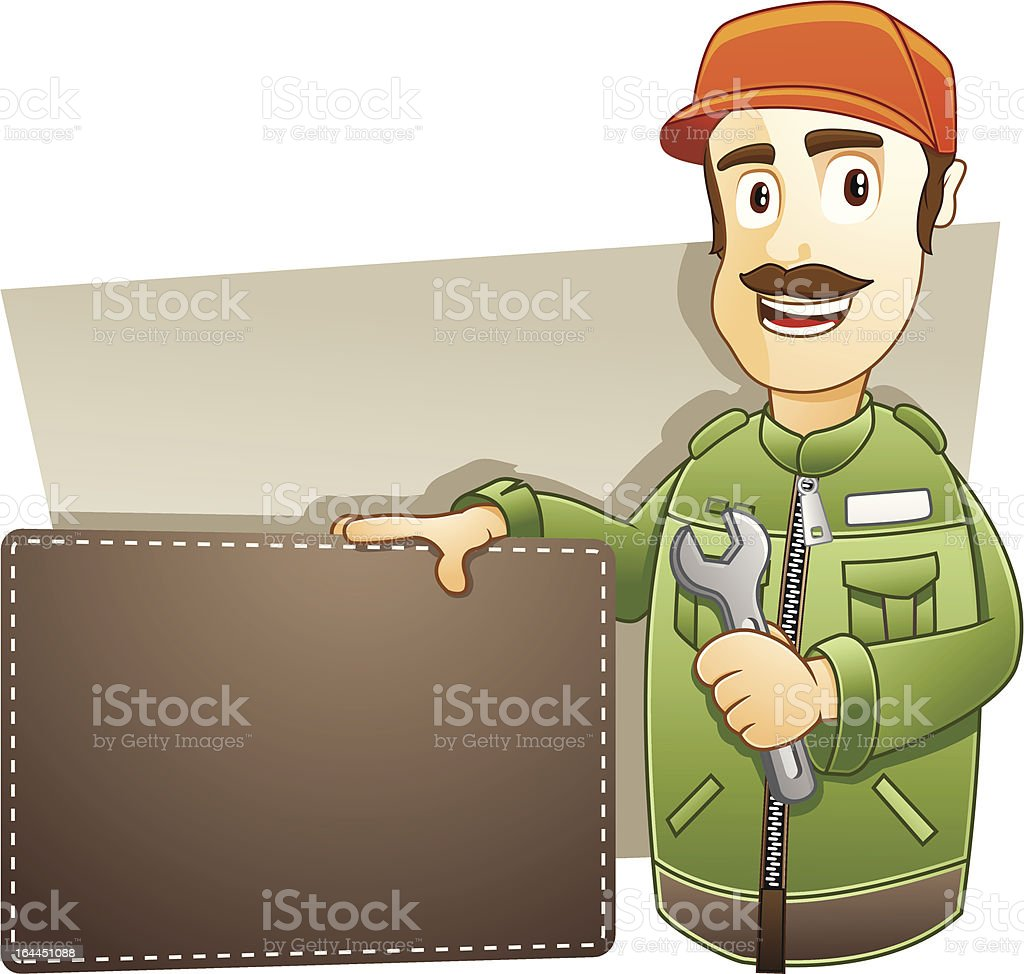 Technician  with banner royalty-free stock vector art
