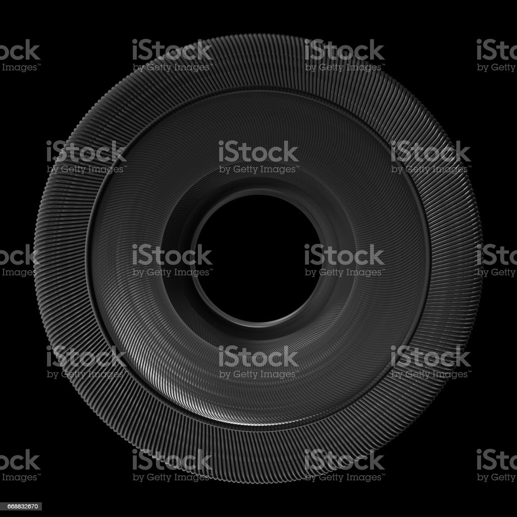 Technology background with metal spiral center. stock photo