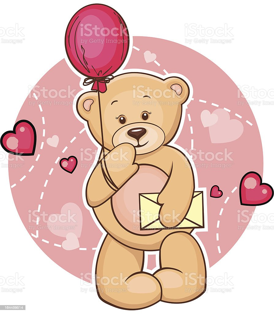 teddy bear with message royalty-free stock vector art