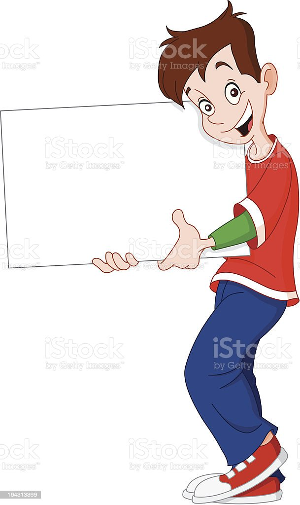 Teenager holding blank sign royalty-free stock vector art
