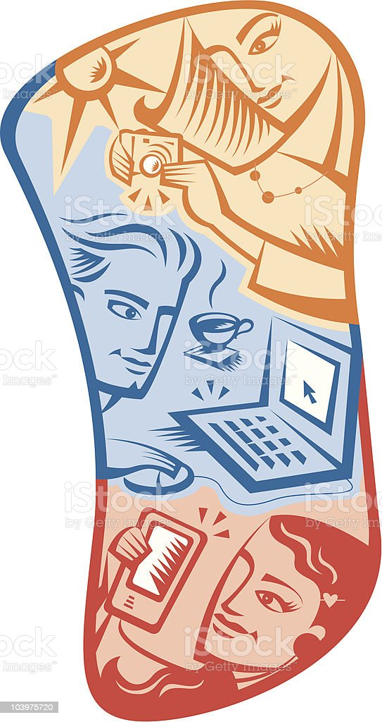 Teens and technology royalty-free stock vector art