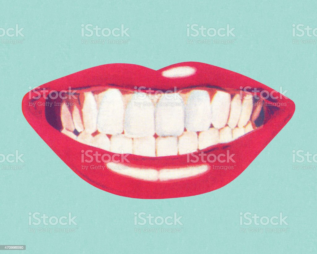 Teeth and Lips vector art illustration