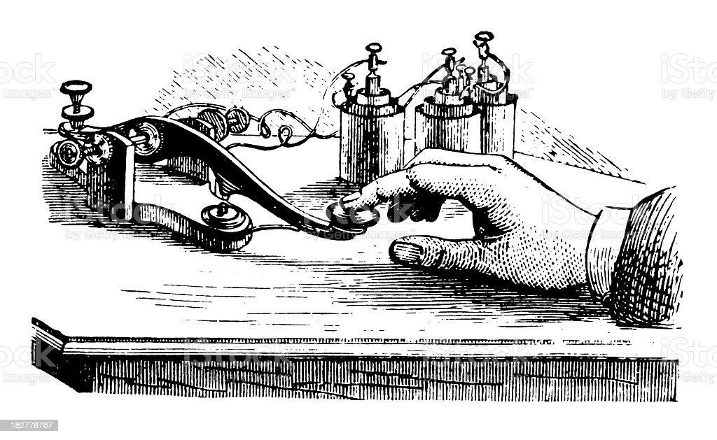 Telegraph Operator | Antique Design Illustrations vector art illustration