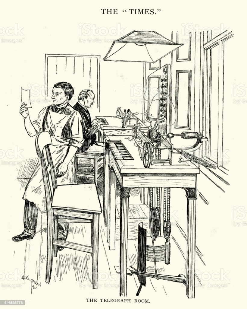 Telegraph room of the Times of London, 1892 vector art illustration