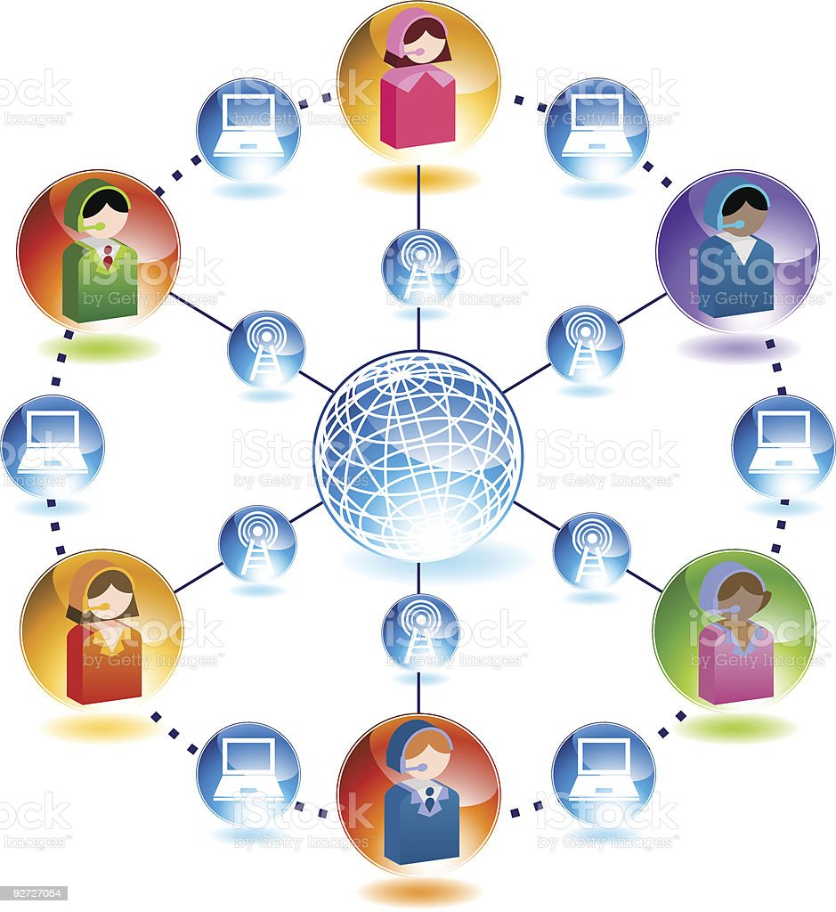 Telemarketing Network royalty-free stock vector art