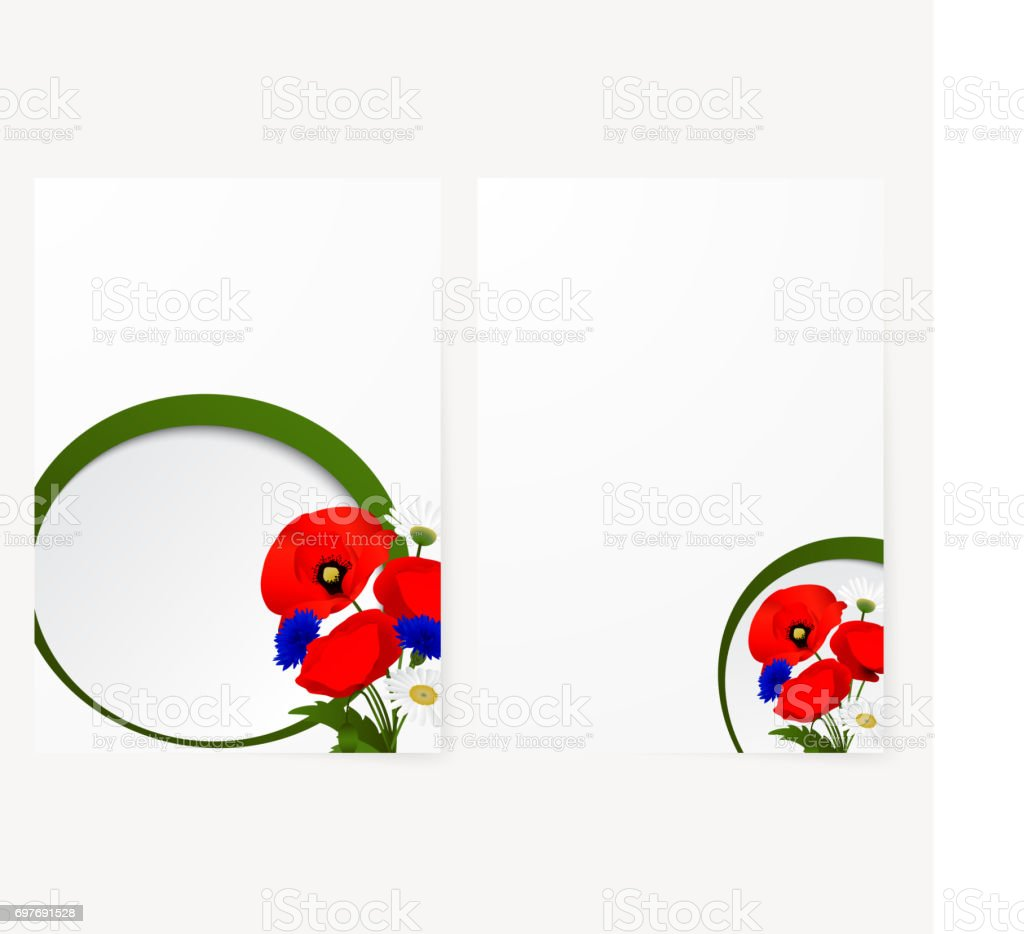Template card with chamomile, cornflowers and red flowers poppies vector art illustration