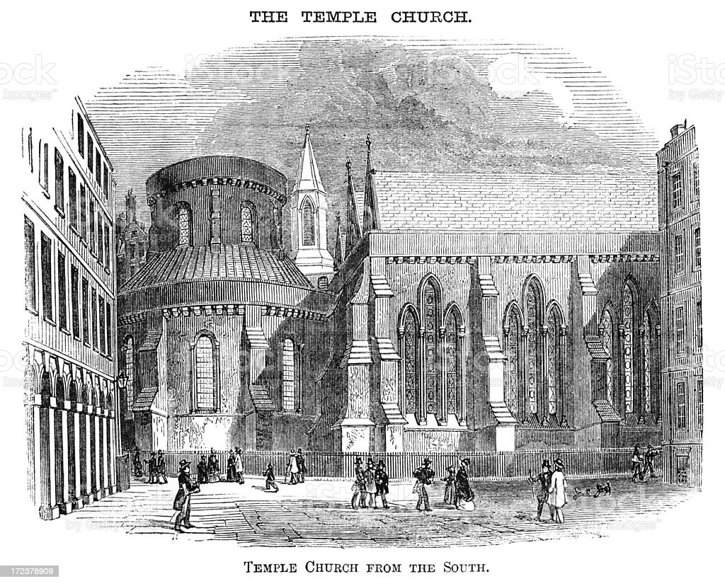 Temple Church, London, from the south (Victorian woodcut) royalty-free stock vector art
