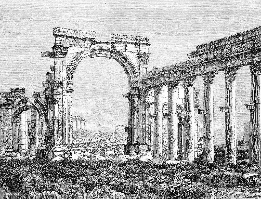 Temple colonnade ruins in Palmyra vector art illustration