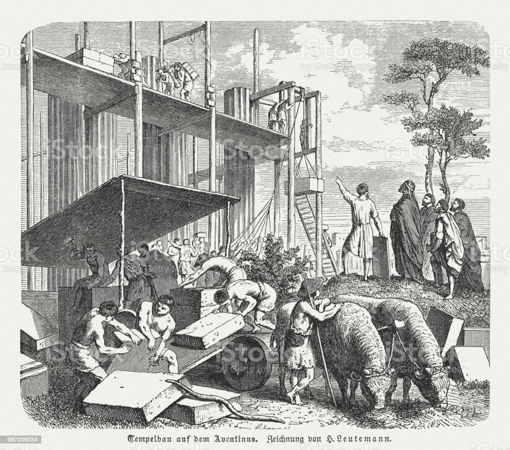 Temple construction on the Aventine in Ancient Rome, published 1880 vector art illustration