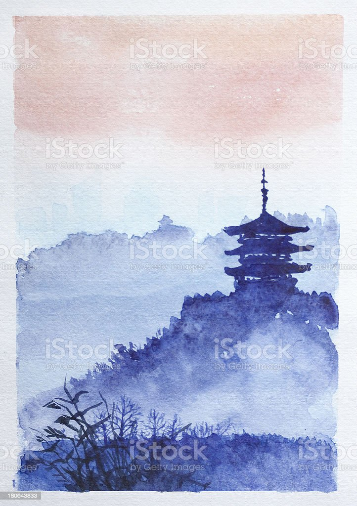 Temple, forest and dawn vector art illustration