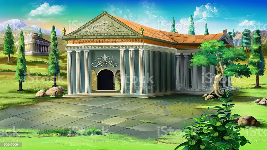 Temple in Ancient Greece. vector art illustration
