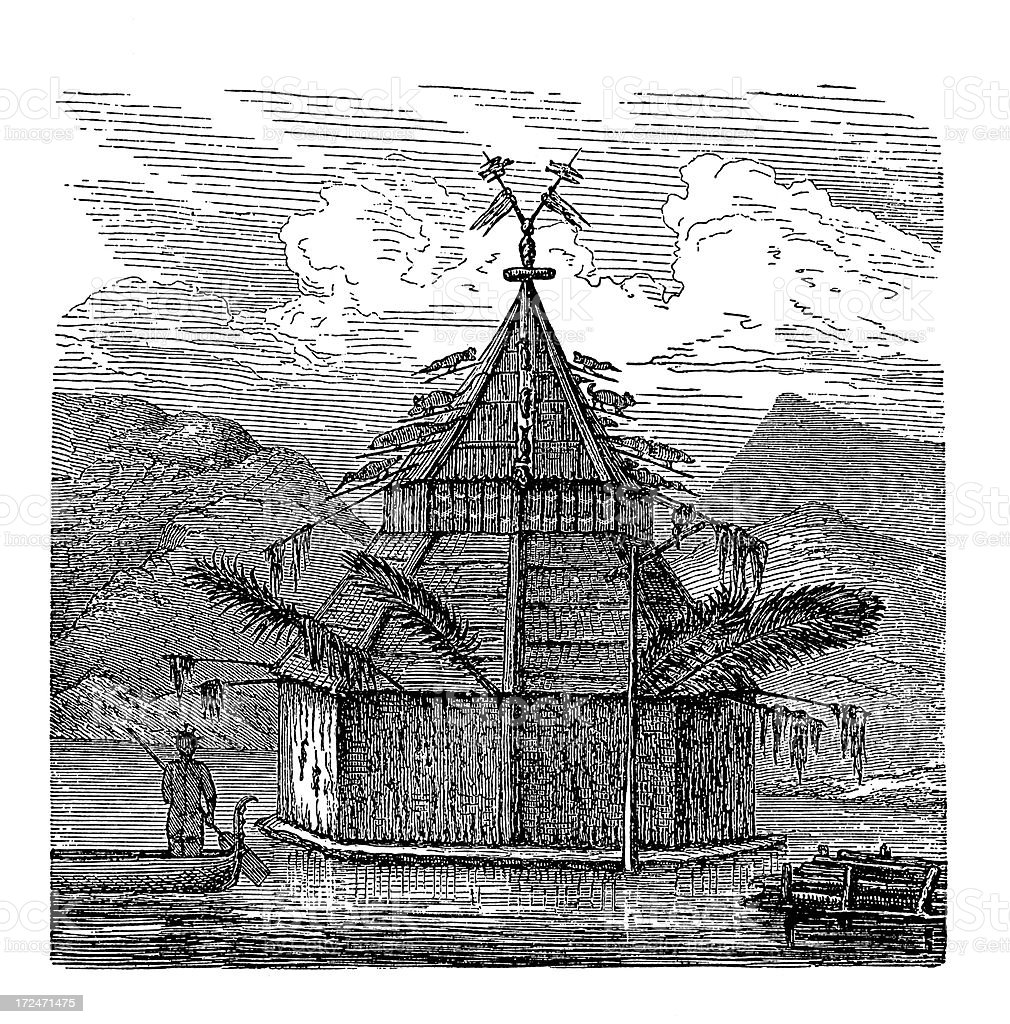 Temple in New Guinea (antique wood engraving) royalty-free stock vector art