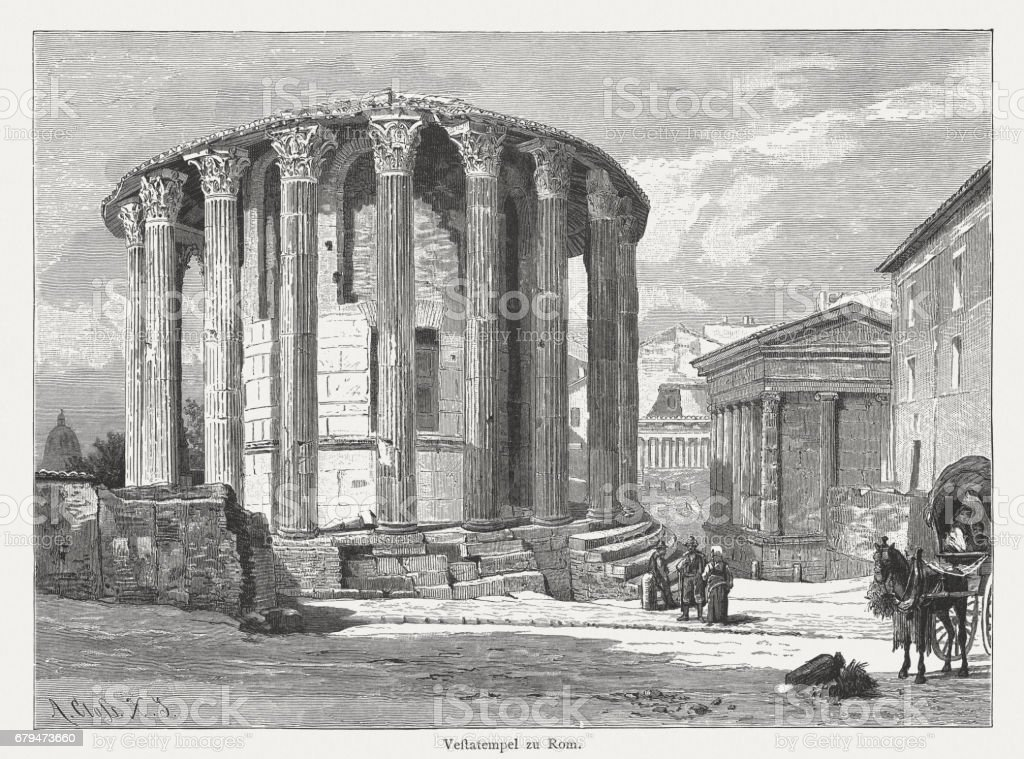 Temple of Hercules Victor (Vesta) in Rome, Italy, published 1884 vector art illustration