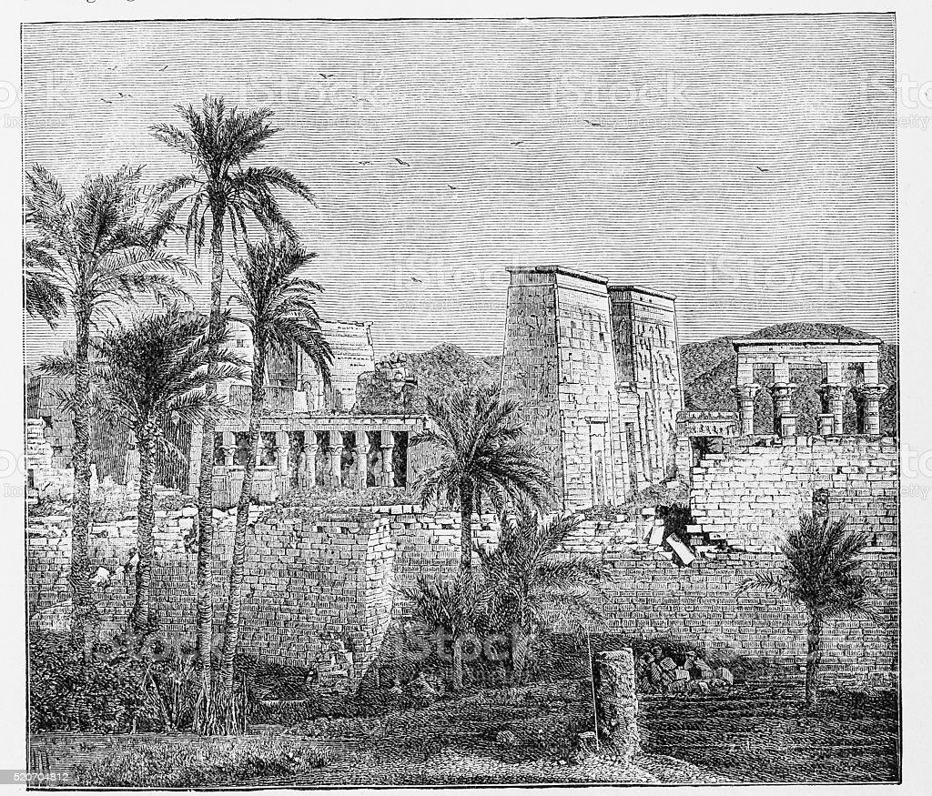 Temple of Isis-Island of Elephantine vector art illustration