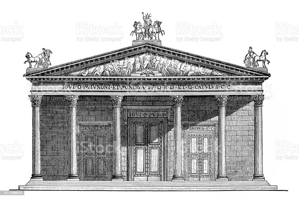 Temple of Jupiter vector art illustration