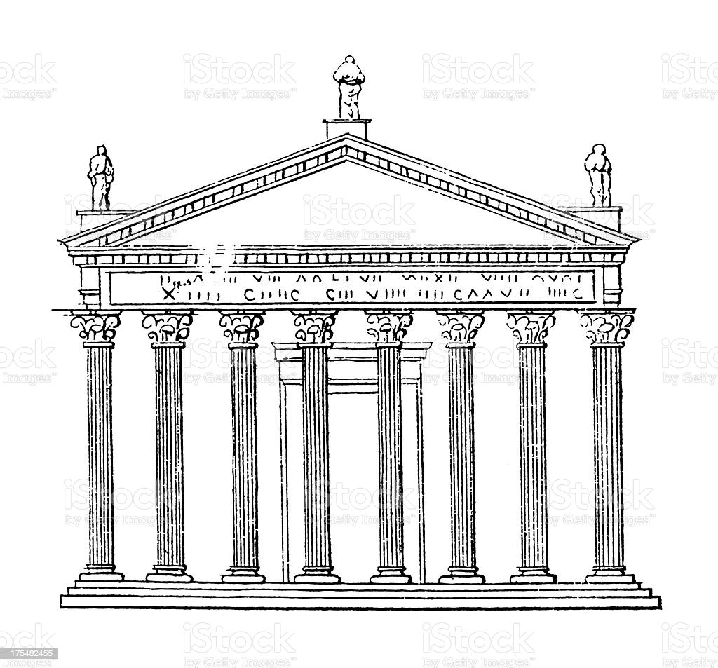 Temple of Jupiter Optimus Maximus, Rome, Italy | Architectural Illustrations royalty-free stock vector art