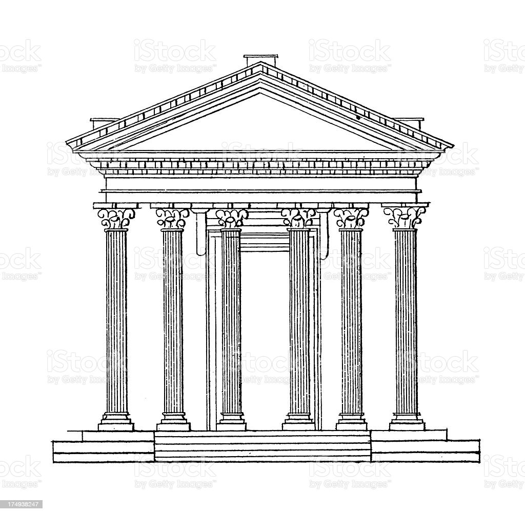 Temple of Jupiter Stator, Rome, Italy | Antique Architectural Illustrations royalty-free stock vector art