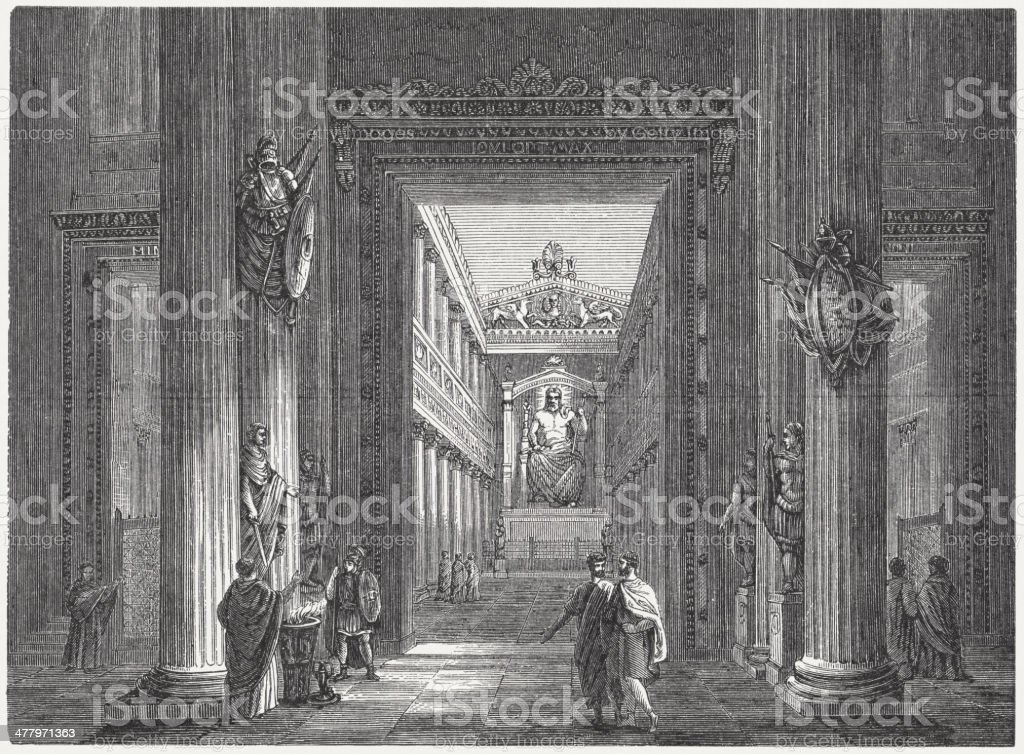 Temple of Jupiter Stator (2nd century BC), Rome, published 1876 royalty-free stock vector art