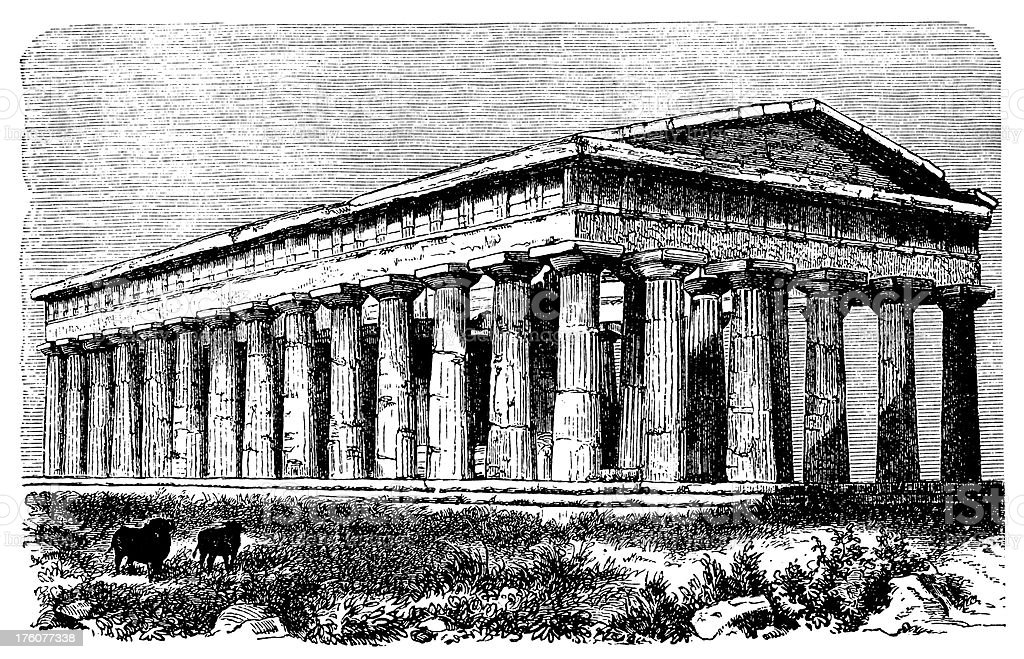 Temple of Neptune | Antique Architectural Illustrations royalty-free stock vector art