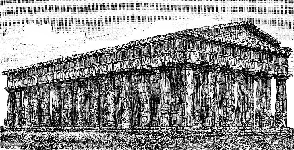 Temple of Neptune vector art illustration